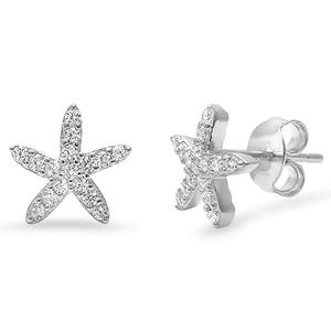 Starfish Earrings Round Micro CZ Sterling Silver